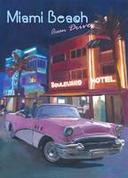 Miami Ocean Drive Convertible Night Retro Poster