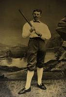1800's HANDSOME BASEBALL PLAYER w BAT TINTYPE