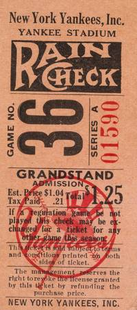 1948  The Babe Bows Out  Ticket Stub from Ruth's F