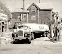 1950s photo Atlantic GAS Station FUEL Truck car Pu