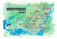 Montreal Quebec Canada Travel Poster Favorite Map