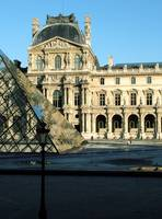 Outside Louvre with lamppost