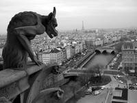 Gargoyle with spike and Eiffel Tower bw