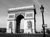 Arc de Triomphe horizontal with street sign bw