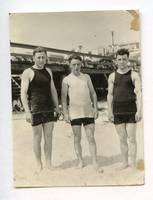 ANTIQUE SWIMSUIT MUSCLE BUDDY BOYS MEN AT BEACH