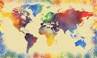 Colorful Watercolor Map Of The World