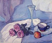 Still Life with Purple Roses