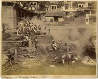 Burning Ghats at Benares, India & Original ca 1890