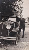 Classy Stylish Man Pose to Old Car Automobile