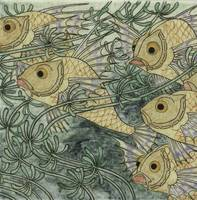 Tile, belonging to tableau painted with fish whose