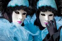 Venetian couple mask costume blue white black and