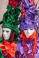 Venetian couple mask costume green purple and oran