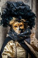 Venetian mask costume black gold staring