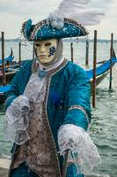 Venetian mask costume colonial blue and white with