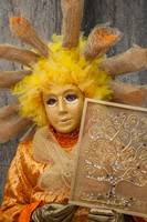 Venetian mask costume yellow orange gold with tree