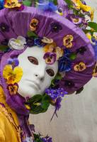 Venetian mask costume yellow purple with flowers