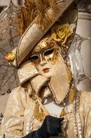 Venetian mask costume Victorian gold cream with um