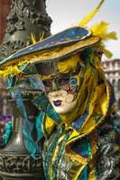 Venetian mask costume yellow green turquoise on la