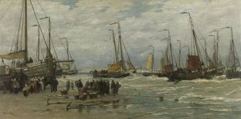 Fishing Pinks in Breaking Waves, Hendrik Willem Me
