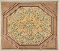 Design for the decoration of a hexagonal ceiling w