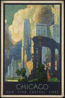 Chicago Vintage Train Travel Poster