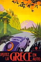 Greece Vintage Auto Travel Poster