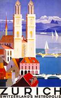 Zurich, Switzerland Vintage Travel Poster