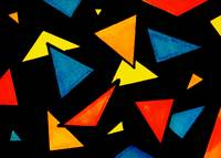 Abstract Neon Digital Triangles Artwork