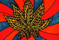 Abstract Neon Digital Marijuana Leaf Artwork