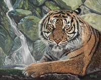 Original oil painting tiger with waterfall