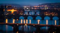 The Prague bridges with Charles Bridge at sunrise