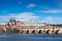 The Prague castle, Charles Bridge and Vltava river