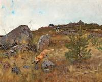 BRUNO LILJEFORS,   FOX CHASED BY HOUNDS.
