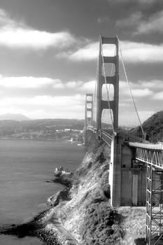Golden Gate Bridge Black And White By Vintage Works