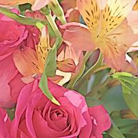 Tiger Alstroemeria with Red Rose