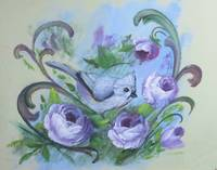 Bird Painting with Roses Jay Bird