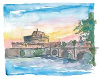 Rome_Italy_Castel Sant'Angelo_Morning_with_Bridge