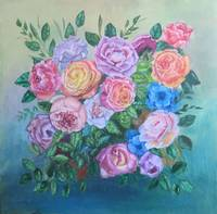 Floral Roses and Peony Painting, Bouquet of Flower