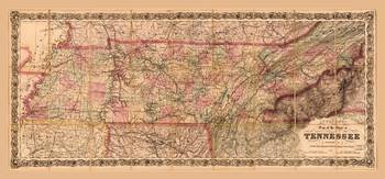 Colton's map of the State of Tennessee (1876)