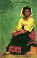 Costume study of a seated woman by Bierstadt