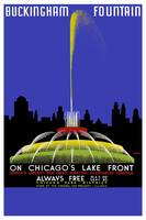 Chicago Fountain Travel Poster