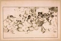 [African Americans dancing around a pile of waterm