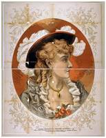 [Bust view of woman, wearing plumed hat and gray d