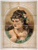 [Bust view of woman, wearing rose in hair and gree