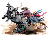 F_1_30x22_H_Cowboy_rodeo_bull_fighter_clown1_signe