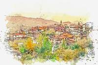 A Village in Balkans -  watercolor by Ahmet Asar