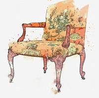 A George II mahogany armchair, circa 1755, in the