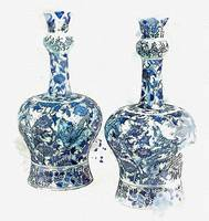 A pair of Delft faïence baluster vases, late 17th