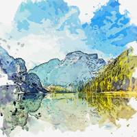 Alpine reflection -  watercolor by Adam Asar