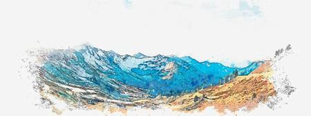 Alpine Vista -  watercolor by Adam Asar